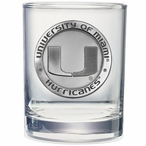 Miami Hurricanes Pewter Accent Double Old Fashion Glasses, Set of 2