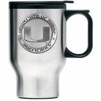Miami Hurricanes Stainless Steel Travel Mug w/ Handle & Pewter Accent