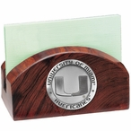 Miami Hurricanes Wood Business Card Holder with Pewter Accent
