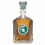 Michigan State Spartans Green Capitol Glass Decanter w/ Pewter Accents