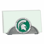 Michigan State Spartans Green Metal Business Card Holder with Pewter