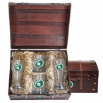 Michigan State Spartans Green Pewter Accent Beer Chest Box Set