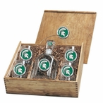 Michigan State Spartans Green Pewter Accent Capitol Decanter Box Set