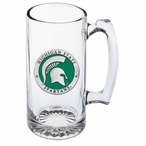 Michigan State Spartans Green Pewter Accent Glass Super Beer Mug