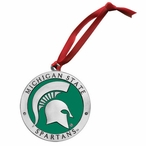 Michigan State Spartans Green Pewter Accent Ornaments, Set of 2
