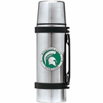 Michigan State Spartans Green Pewter Accent Stainless Steel Thermos