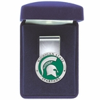 Michigan State Spartans Green Pewter Accent Steel Money Clip