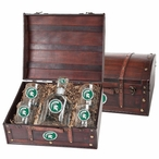 Michigan State Spartans Green Pewter Capitol Decanter Chest Set