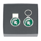 Michigan State Spartans Green Pewter Money Clip & Key Chain Gift Set