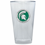 Michigan State Spartans Green Pewter Pint Beer Glasses, Set of 2