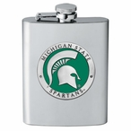 Michigan State Spartans Green Stainless Steel Flask with Pewter Accent