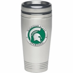 Michigan State Spartans Green Stainless Steel Travel Mug with Pewter