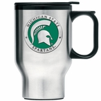 Michigan State Spartans Green Travel Mug with Handle & Pewter Accent
