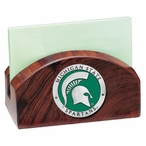 Michigan State Spartans Green Wood Business Card Holder with Pewter