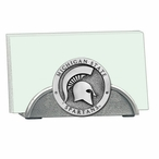 Michigan State Spartans Metal Business Card Holder with Pewter Accent