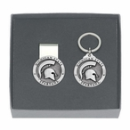 Michigan State Spartans Pewter Accent Money Clip & Key Chain Gift Set