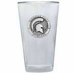 Michigan State Spartans Pewter Accent Pint Beer Glasses, Set of 2