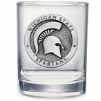 Michigan State Spartans Pewter Double Old Fashion Glasses, Set of 2