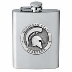 Michigan State Spartans Stainless Steel Flask with Pewter Accent
