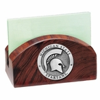 Michigan State Spartans Wood Business Card Holder with Pewter Accent