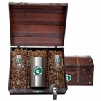 Michigan State University Spartans Green Pewter Accent Wine Chest Set