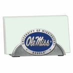 Mississippi Rebels Blue Metal Business Card Holder with Pewter Accent