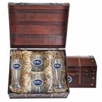 Mississippi Rebels Blue Pewter Accent Beer Chest Box Set