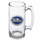 Mississippi Rebels Blue Pewter Accent Glass Super Beer Mug