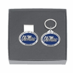 Mississippi Rebels Blue Pewter Accent Money Clip & Key Chain Gift Set