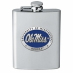 Mississippi Rebels Blue Stainless Steel Flask with Pewter Accent