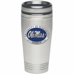 Mississippi Rebels Blue Stainless Steel Travel Mug with Pewter Accent
