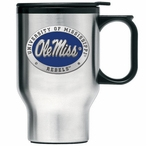 Mississippi Rebels Blue Travel Mug with Handle & Pewter Accent