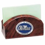 Mississippi Rebels Blue Wood Business Card Holder with Pewter Accent