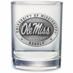 Mississippi Rebels Pewter Accent Double Old Fashion Glasses, Set of 2