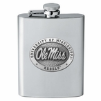 Mississippi Rebels Stainless Steel Flask with Pewter Accent