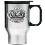 Mississippi Rebels Stainless Steel Travel Mug with Handle & Pewter