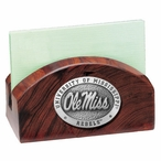 Mississippi Rebels Wood Business Card Holder with Pewter Accent