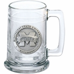 Mississippi State Bulldogs Logo Pewter Accent Glass Beer Mug