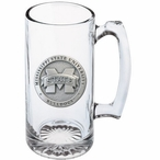 Mississippi State Bulldogs Logo Pewter Accent Glass Super Beer Mug