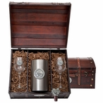 Mississippi State Bulldogs Logo Pewter Accent Wine Chest Set
