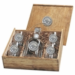 Mississippi State Bulldogs Logo Pewter Capitol Decanter Box Set
