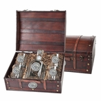 Mississippi State Bulldogs Logo Pewter Capitol Decanter Chest Set