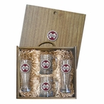 Mississippi State Bulldogs Logo Red Pewter Accent Beer Box Set
