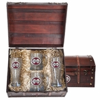 Mississippi State Bulldogs Logo Red Pewter Accent Beer Chest Box Set