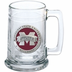 Mississippi State Bulldogs Logo Red Pewter Accent Glass Beer Mug