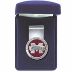 Mississippi State Bulldogs Logo Red Pewter Accent Steel Money Clip
