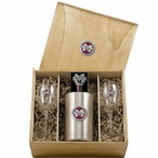 Mississippi State Bulldogs Logo Red Pewter Accent Wine Box Set