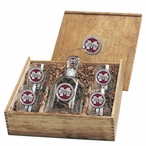 Mississippi State Bulldogs Logo Red Pewter Capitol Decanter Box Set