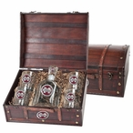 Mississippi State Bulldogs Logo Red Pewter Capitol Decanter Chest Set
