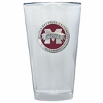 Mississippi State Bulldogs Logo Red Pewter Pint Beer Glasses, Set of 2